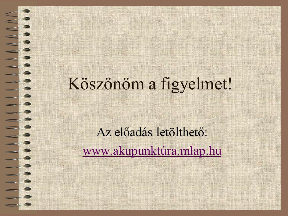 Köszönöm a figyelmet! Az előadás letölthető: www.akupunktúra.mlap.hu
