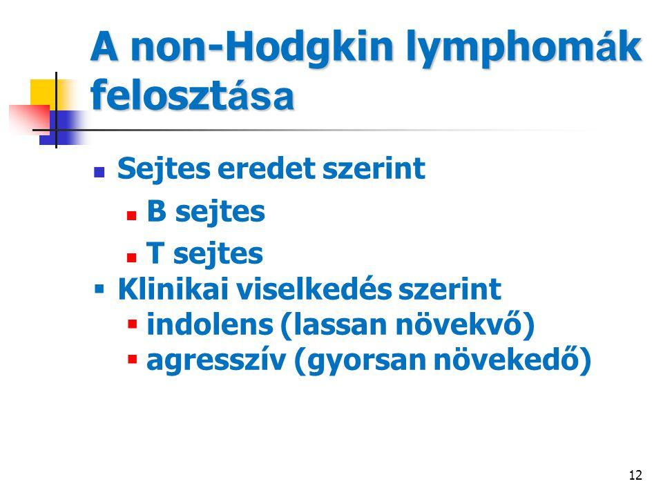 12 A non-Hodgkin lymphom á k feloszt ása Sejtes eredet szerint B sejtes T sejtes  Klinikai viselkedés szerint  indolens (lassan növekvő)  agresszív