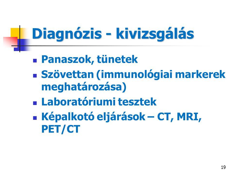 19 Diagnózis - kivizsgálás Panaszok, tünetek Szövettan (immunológiai markerek meghatározása) Laboratóriumi tesztek Képalkotó eljárások – CT, MRI, PET/