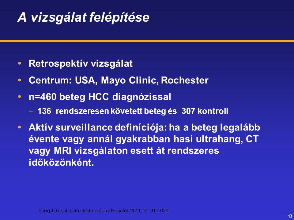 13 A vizsgálat felépítése  Retrospektív vizsgálat  Centrum: USA, Mayo Clinic, Rochester  n=460 beteg HCC diagnózissal –136 rendszeresen követett be