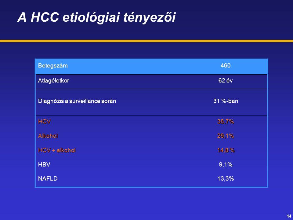14 A HCC etiológiai tényezői Betegszám460 Átlagéletkor62 év Diagnózis a surveillance során31 %-ban HCV35,7% Alkohol29,1% HCV + alkohol 14,8 % HBV9,1%