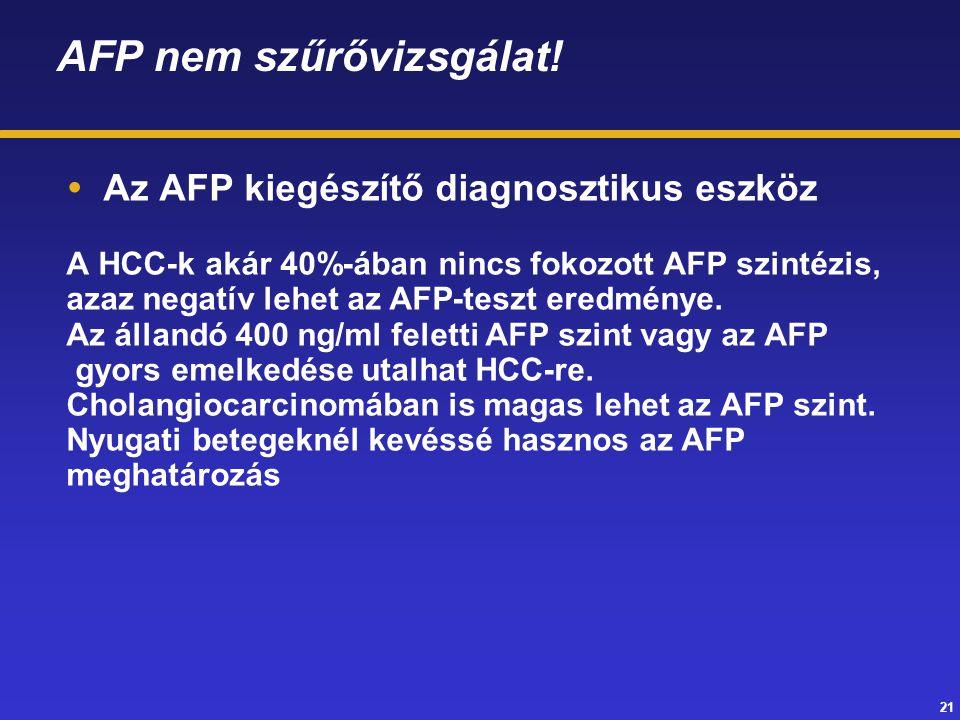 21 AFP nem szűrővizsgálat!  Az AFP kiegészítő diagnosztikus eszköz A HCC-k akár 40%-ában nincs fokozott AFP szintézis, azaz negatív lehet az AFP-tesz
