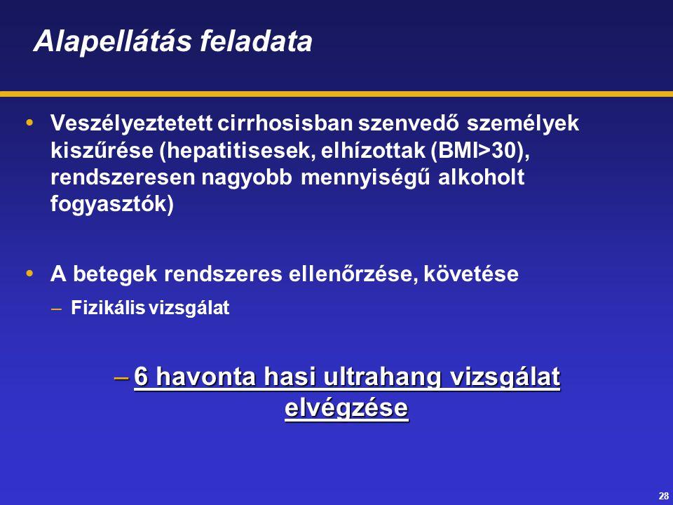 28 Alapellátás feladata  Veszélyeztetett cirrhosisban szenvedő személyek kiszűrése (hepatitisesek, elhízottak (BMI>30), rendszeresen nagyobb mennyisé