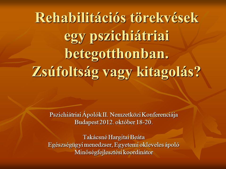 Rehabilitációs törekvések egy pszichiátriai betegotthonban. Zsúfoltság vagy kitagolás? Pszichiátriai Ápolók II. Nemzetközi Konferenciája Budapest 2012