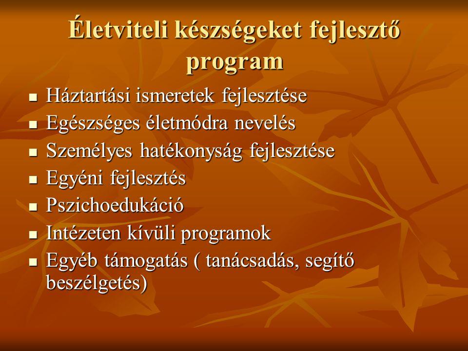 Életviteli készségeket fejlesztő program Háztartási ismeretek fejlesztése Háztartási ismeretek fejlesztése Egészséges életmódra nevelés Egészséges éle