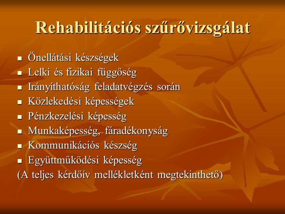Rehabilitációs szűrővizsgálat Önellátási készségek Önellátási készségek Lelki és fizikai függőség Lelki és fizikai függőség Irányíthatóság feladatvégz