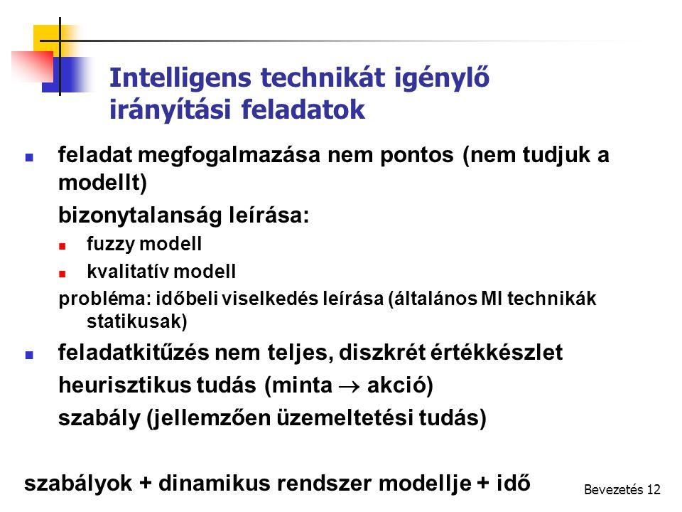 Bevezetés 12 Intelligens technikát igénylő irányítási feladatok feladat megfogalmazása nem pontos (nem tudjuk a modellt) bizonytalanság leírása: fuzzy modell kvalitatív modell probléma: időbeli viselkedés leírása (általános MI technikák statikusak) feladatkitűzés nem teljes, diszkrét értékkészlet heurisztikus tudás (minta  akció) szabály (jellemzően üzemeltetési tudás) szabályok + dinamikus rendszer modellje + idő