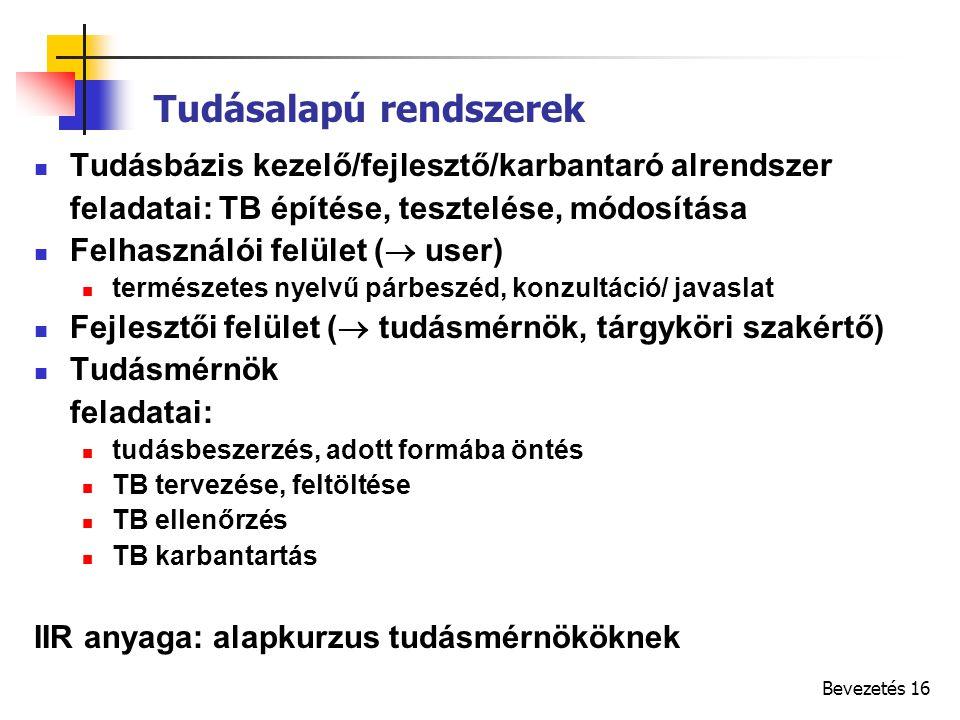 Bevezetés 16 Tudásbázis kezelő/fejlesztő/karbantaró alrendszer feladatai: TB építése, tesztelése, módosítása Felhasználói felület (  user) természetes nyelvű párbeszéd, konzultáció/ javaslat Fejlesztői felület (  tudásmérnök, tárgyköri szakértő) Tudásmérnök feladatai: tudásbeszerzés, adott formába öntés TB tervezése, feltöltése TB ellenőrzés TB karbantartás IIR anyaga: alapkurzus tudásmérnököknek Tudásalapú rendszerek