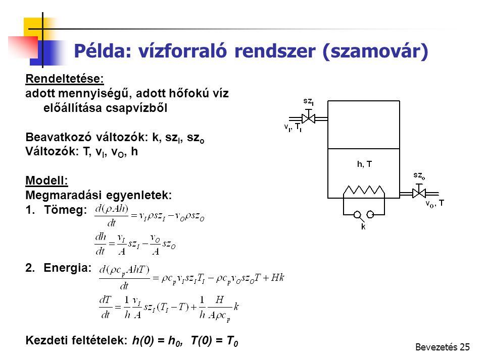 Bevezetés 25 Rendeltetése: adott mennyiségű, adott hőfokú víz előállítása csapvízből Beavatkozó változók: k, sz I, sz o Változók: T, v I, v O, h Modell: Megmaradási egyenletek: 1.Tömeg: 2.Energia: Kezdeti feltételek: h(0) = h 0, T(0) = T 0 Példa: vízforraló rendszer (szamovár)