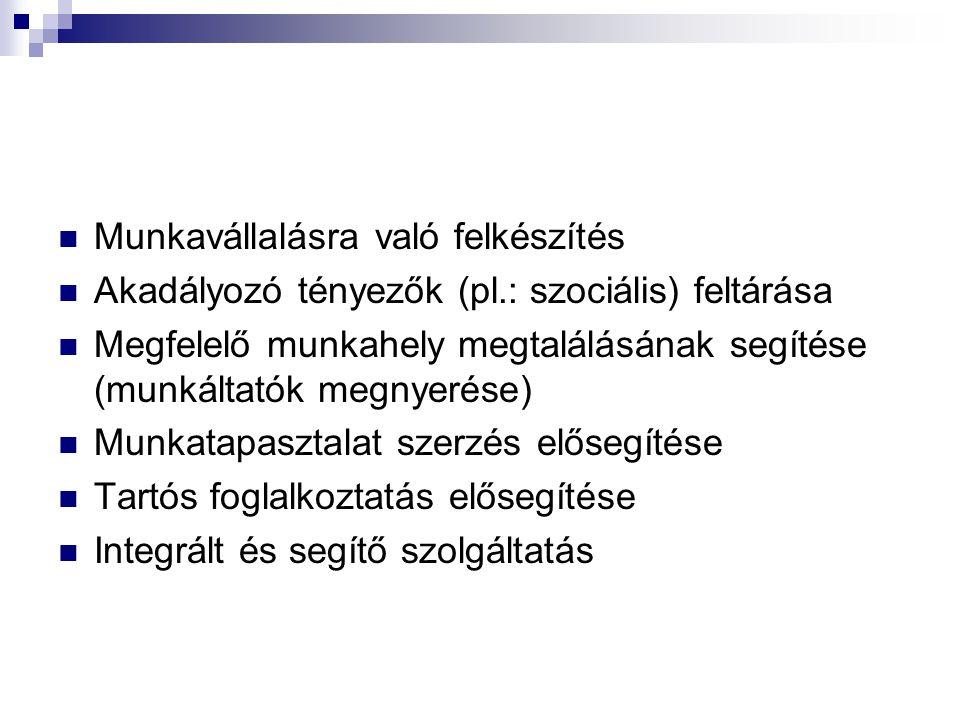 Munkavállalásra való felkészítés Akadályozó tényezők (pl.: szociális) feltárása Megfelelő munkahely megtalálásának segítése (munkáltatók megnyerése) M
