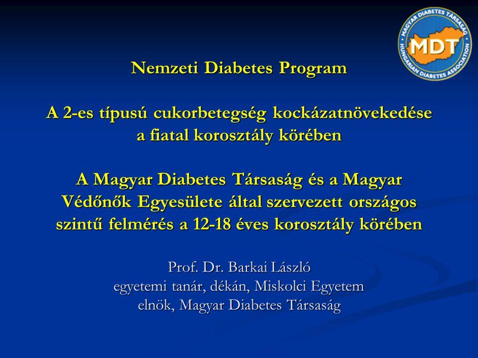 Nemzeti Diabetes Program A 2-es típusú cukorbetegség kockázatnövekedése a fiatal korosztály körében A Magyar Diabetes Társaság és a Magyar Védőnők Egy
