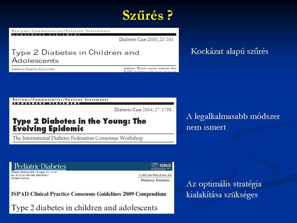 Kockázat alapú szűrés A legalkalmasabb módszer nem ismert Szűrés ? Diabetes Care 2000; 23: 381 Diabetes Care 2004; 27: 1798 Az optimális stratégia kia