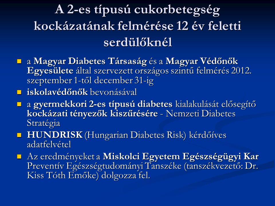 A 2-es típusú cukorbetegség kockázatának felmérése 12 év feletti serdülőknél a Magyar Diabetes Társaság és a Magyar Védőnők Egyesülete által szervezet