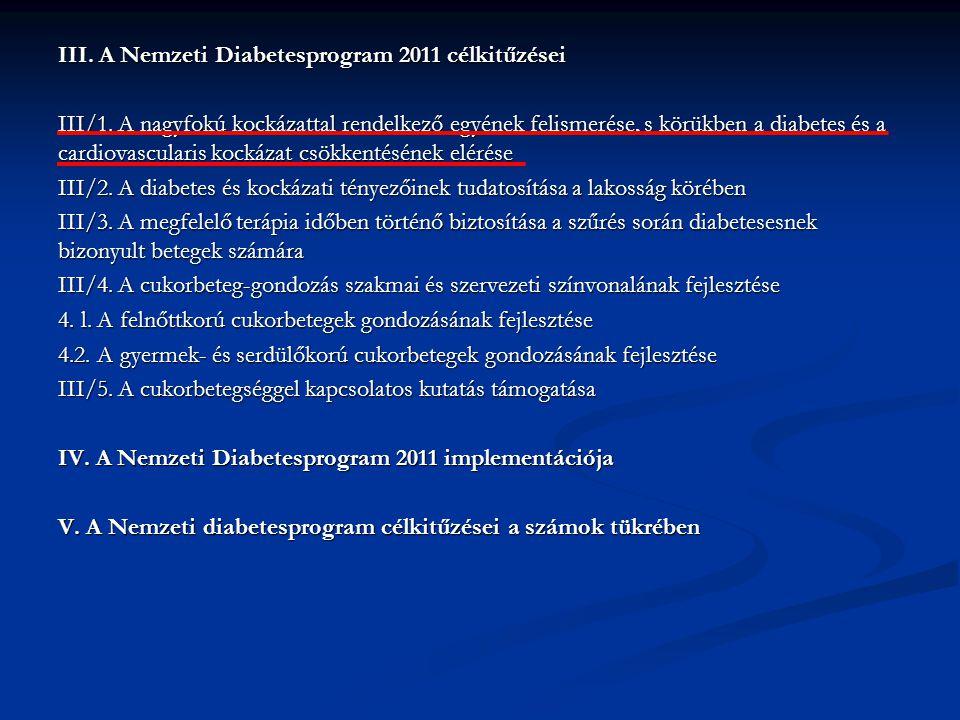 III. A Nemzeti Diabetesprogram 2011 célkitűzései III/1. A nagyfokú kockázattal rendelkező egyének felismerése, s körükben a diabetes és a cardiovascul