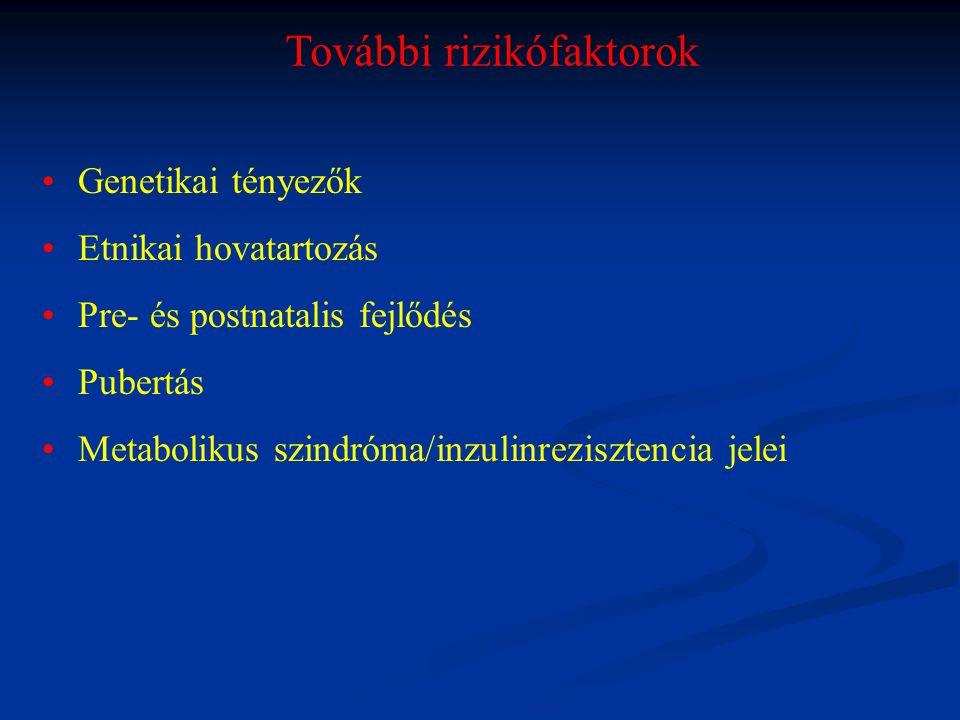 Inzulin rezisztencia jelei Hypertonia Dyslipidaemia Acanthosis nigricans PCOS Prematurus adrenarche