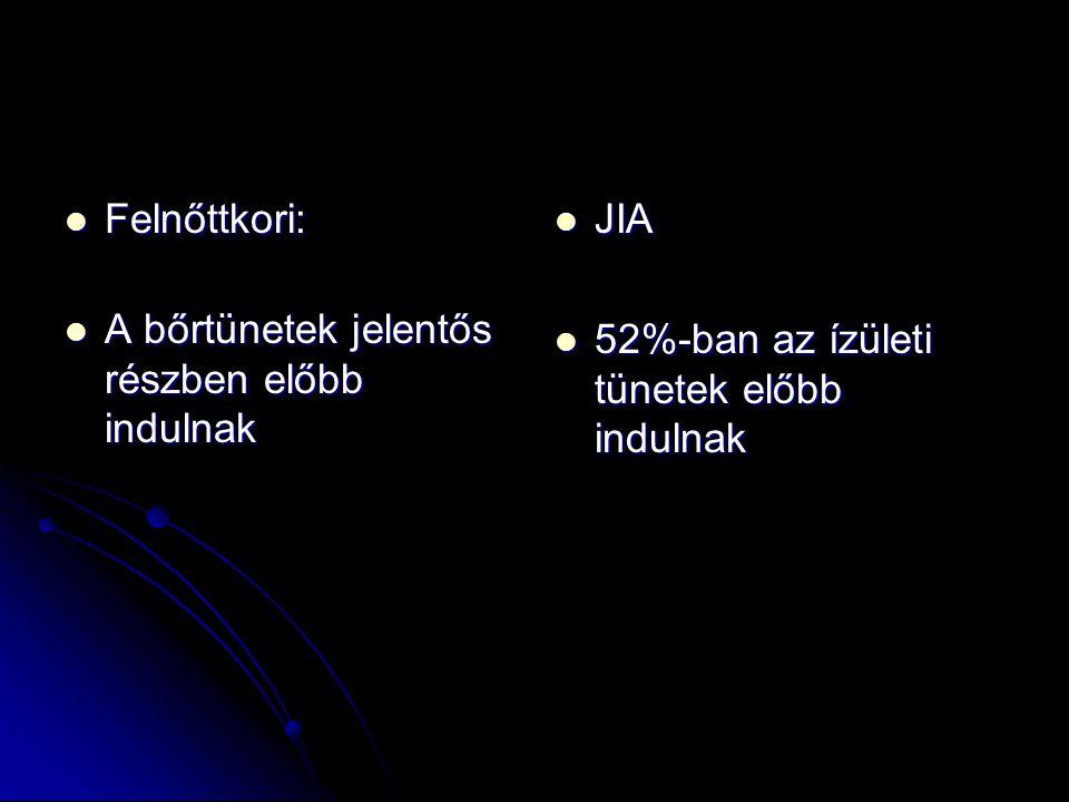 Felnőttkori: Felnőttkori: A bőrtünetek jelentős részben előbb indulnak A bőrtünetek jelentős részben előbb indulnak JIA JIA 52%-ban az ízületi tünetek