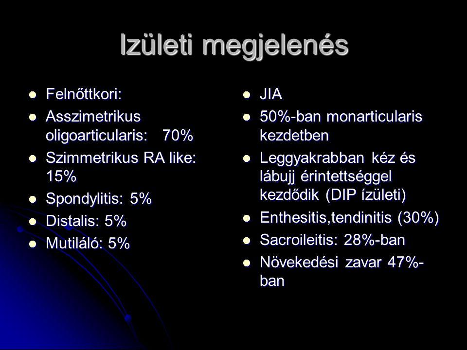 Izületi megjelenés Felnőttkori: Felnőttkori: Asszimetrikus oligoarticularis: 70% Asszimetrikus oligoarticularis: 70% Szimmetrikus RA like: 15% Szimmet