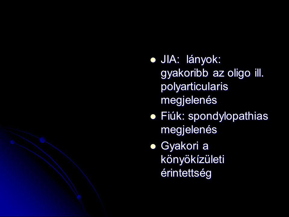 JIA: lányok: gyakoribb az oligo ill. polyarticularis megjelenés JIA: lányok: gyakoribb az oligo ill. polyarticularis megjelenés Fiúk: spondylopathias