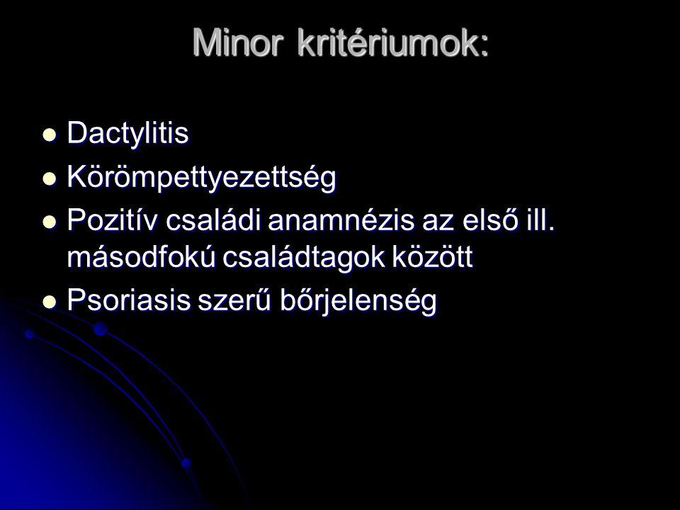 ILAR Arthritis + psoriasis Arthritis + psoriasis Arthritis: + 2 minor kritérium: Arthritis: + 2 minor kritérium: Minor kritériumok: Minor kritériumok: dactylitis dactylitis Körömpettyezettség vagy onycholysis Pozitív családi anamnézis az elsőfokú rokonok között