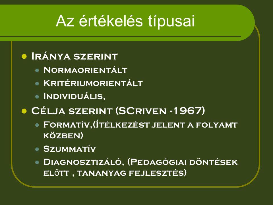 Az értékelés típusai Iránya szerint Normaorientált Kritériumorientált Individuális, Célja szerint (SCriven -1967) Formatív,(Ítélkezést jelent a folyam