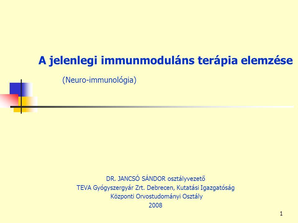 1 A jelenlegi immunmoduláns terápia elemzése (Neuro-immunológia) DR. JANCSÓ SÁNDOR osztályvezető TEVA Gyógyszergyár Zrt. Debrecen, Kutatási Igazgatósá