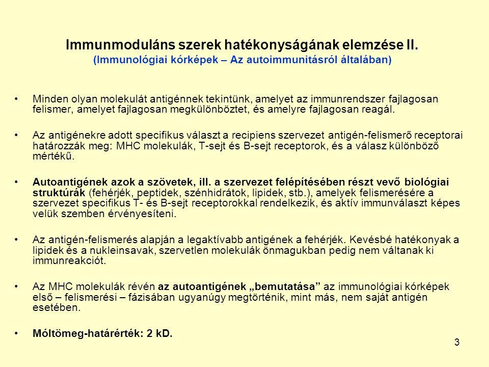 3 Immunmoduláns szerek hatékonyságának elemzése II. (Immunológiai kórképek – Az autoimmunitásról általában) Minden olyan molekulát antigénnek tekintün