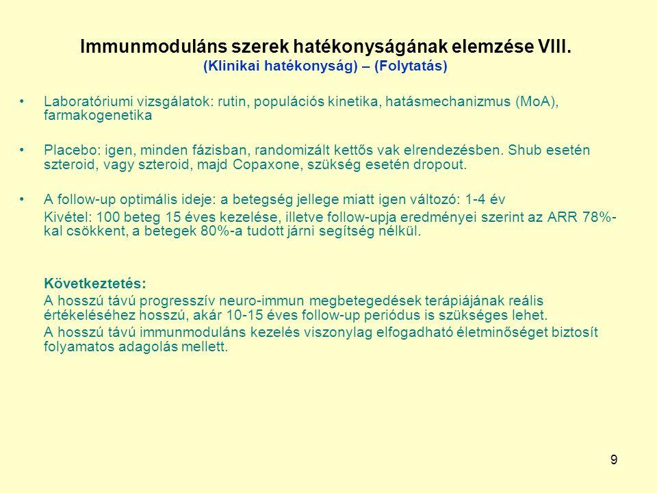 9 Immunmoduláns szerek hatékonyságának elemzése VIII. (Klinikai hatékonyság) – (Folytatás) Laboratóriumi vizsgálatok: rutin, populációs kinetika, hatá