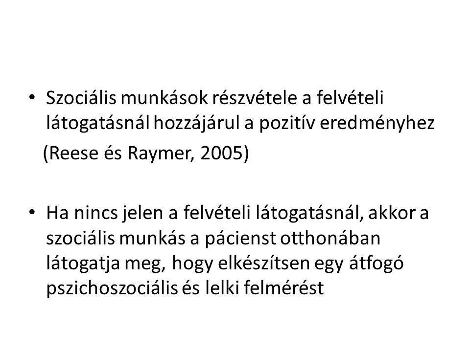 Szociális munkások részvétele a felvételi látogatásnál hozzájárul a pozitív eredményhez (Reese és Raymer, 2005) Ha nincs jelen a felvételi látogatásná