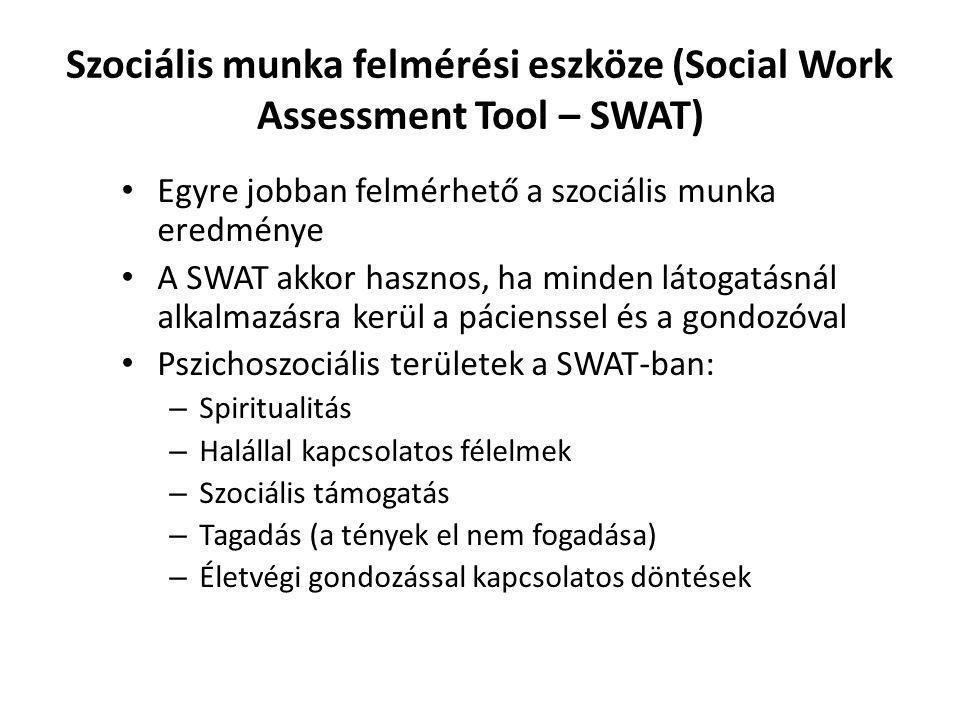 Szociális munka felmérési eszköze (Social Work Assessment Tool – SWAT) Egyre jobban felmérhető a szociális munka eredménye A SWAT akkor hasznos, ha mi