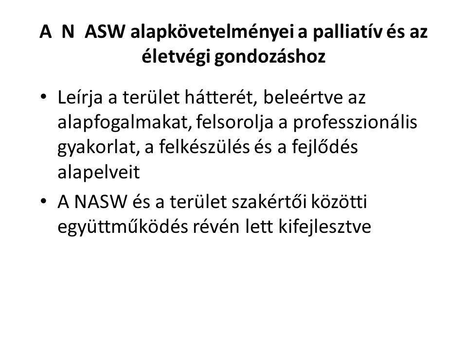 A N ASW alapkövetelményei a palliatív és az életvégi gondozáshoz Leírja a terület hátterét, beleértve az alapfogalmakat, felsorolja a professzionális