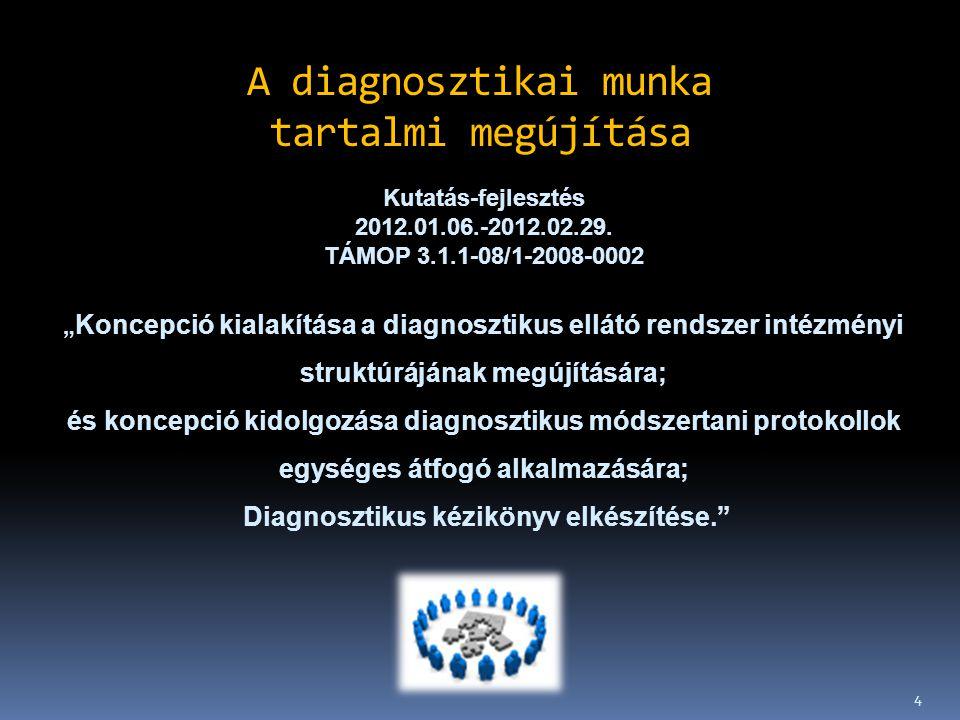 """4 A diagnosztikai munka tartalmi megújítása Kutatás-fejlesztés 2012.01.06.-2012.02.29. TÁMOP 3.1.1-08/1-2008-0002 """" Koncepció kialakítása a diagnoszti"""