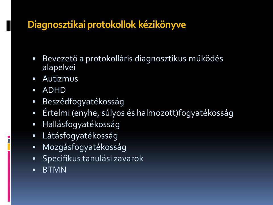 Diagnosztikai protokollok kézikönyve Bevezető a protokolláris diagnosztikus működés alapelvei Autizmus ADHD Beszédfogyatékosság Értelmi (enyhe, súlyos
