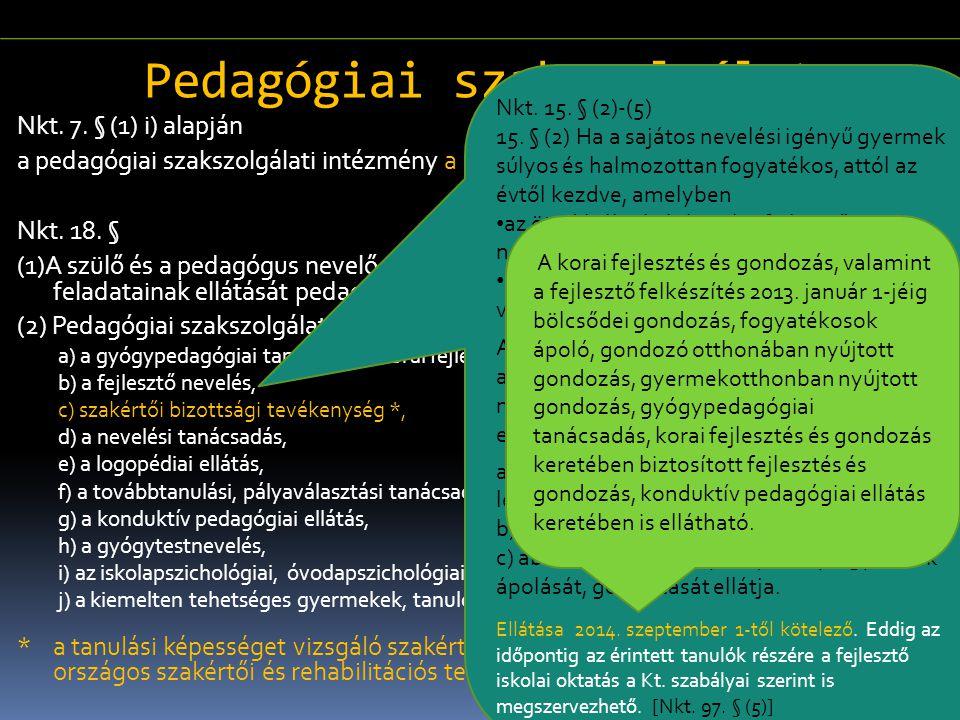 Pedagógiai szakszolgálat Nkt. 7. § (1) i) alapján a pedagógiai szakszolgálati intézmény a köznevelési rendszer intézménye. Nkt. 18. § (1)A szülő és a