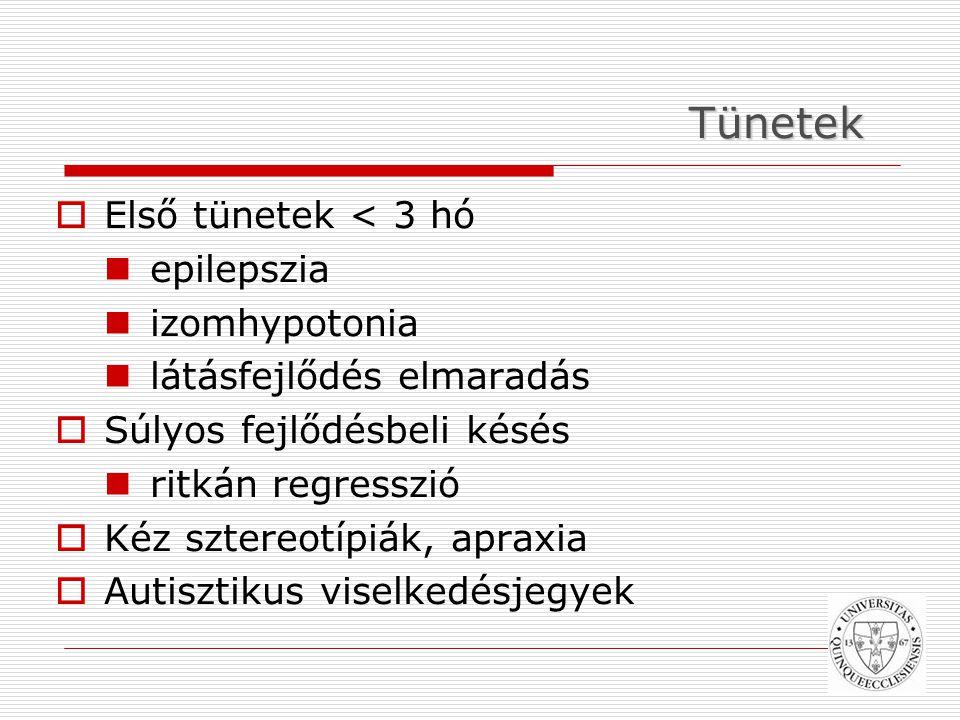 Tünetek  Első tünetek < 3 hó epilepszia izomhypotonia látásfejlődés elmaradás  Súlyos fejlődésbeli késés ritkán regresszió  Kéz sztereotípiák, apraxia  Autisztikus viselkedésjegyek