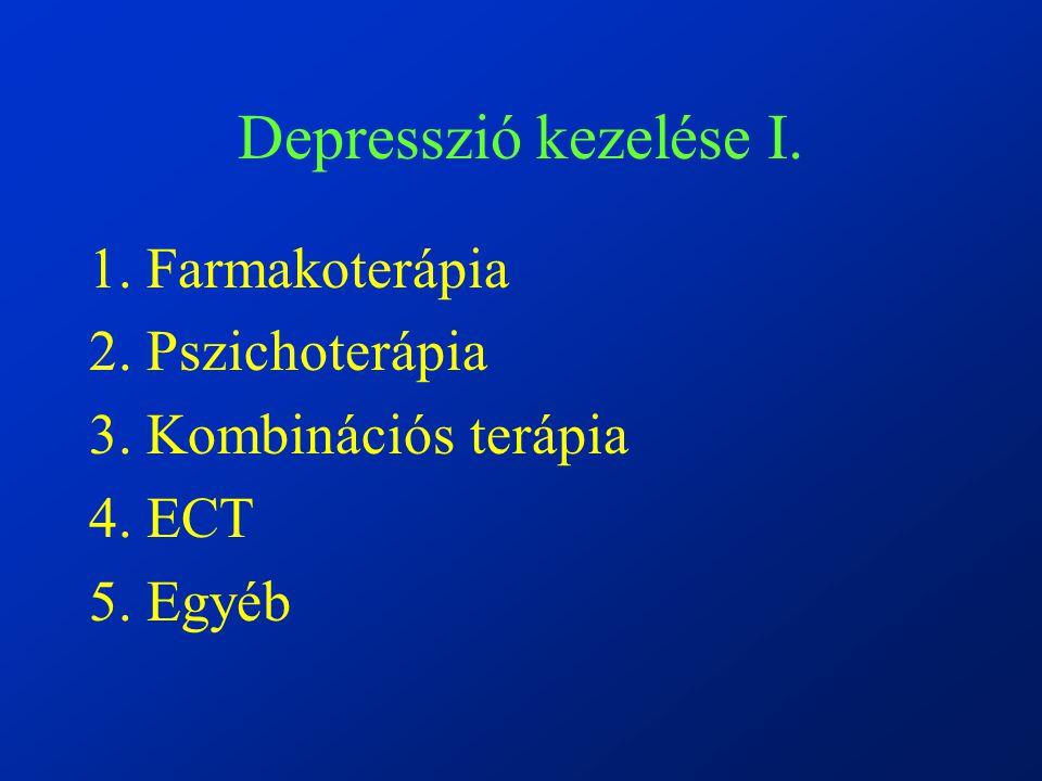 Depresszió kezelése I. 1. Farmakoterápia 2. Pszichoterápia 3. Kombinációs terápia 4. ECT 5. Egyéb