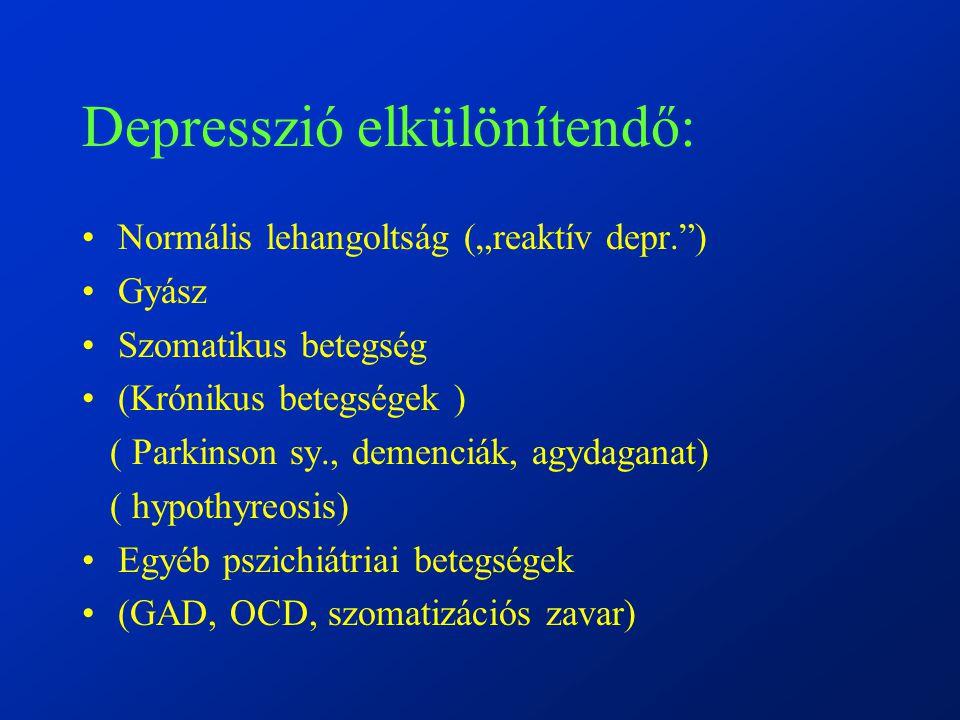 """Depresszió elkülönítendő: Normális lehangoltság (""""reaktív depr. ) Gyász Szomatikus betegség (Krónikus betegségek ) ( Parkinson sy., demenciák, agydaganat) ( hypothyreosis) Egyéb pszichiátriai betegségek (GAD, OCD, szomatizációs zavar)"""