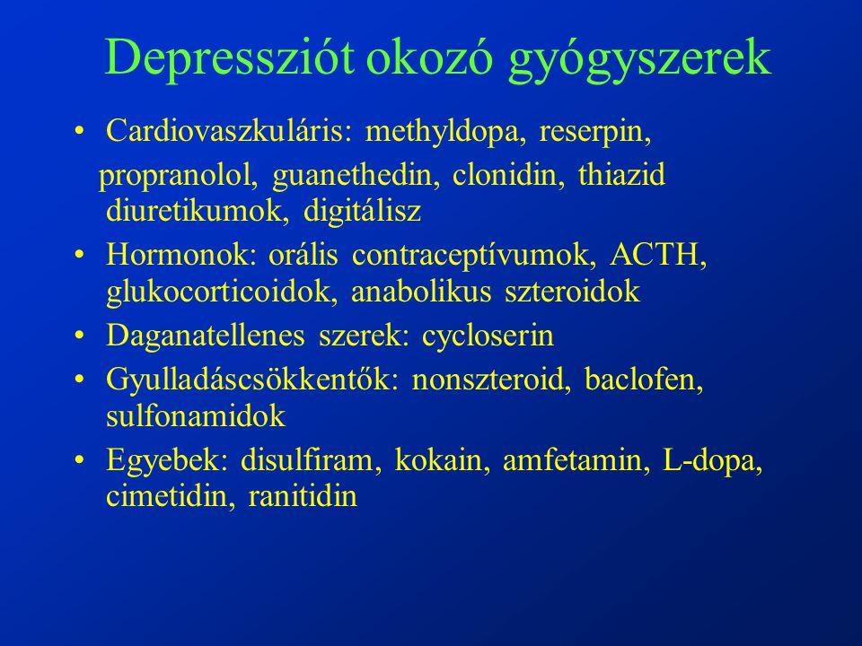 Depressziót okozó gyógyszerek Cardiovaszkuláris: methyldopa, reserpin, propranolol, guanethedin, clonidin, thiazid diuretikumok, digitálisz Hormonok: orális contraceptívumok, ACTH, glukocorticoidok, anabolikus szteroidok Daganatellenes szerek: cycloserin Gyulladáscsökkentők: nonszteroid, baclofen, sulfonamidok Egyebek: disulfiram, kokain, amfetamin, L-dopa, cimetidin, ranitidin