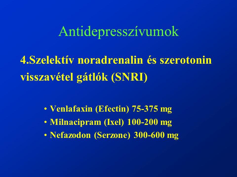 Antidepresszívumok 4.Szelektív noradrenalin és szerotonin visszavétel gátlók (SNRI) Venlafaxin (Efectin) 75-375 mg Milnacipram (Ixel) 100-200 mg Nefazodon (Serzone) 300-600 mg