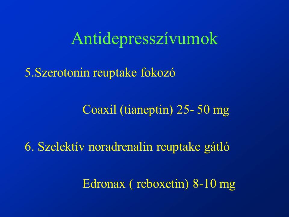 Antidepresszívumok 5.Szerotonin reuptake fokozó Coaxil (tianeptin) 25- 50 mg 6.