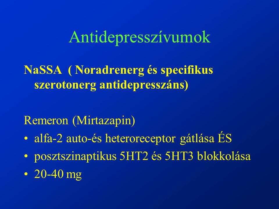 Antidepresszívumok NaSSA ( Noradrenerg és specifikus szerotonerg antidepresszáns) Remeron (Mirtazapin) alfa-2 auto-és heteroreceptor gátlása ÉS posztszinaptikus 5HT2 és 5HT3 blokkolása 20-40 mg