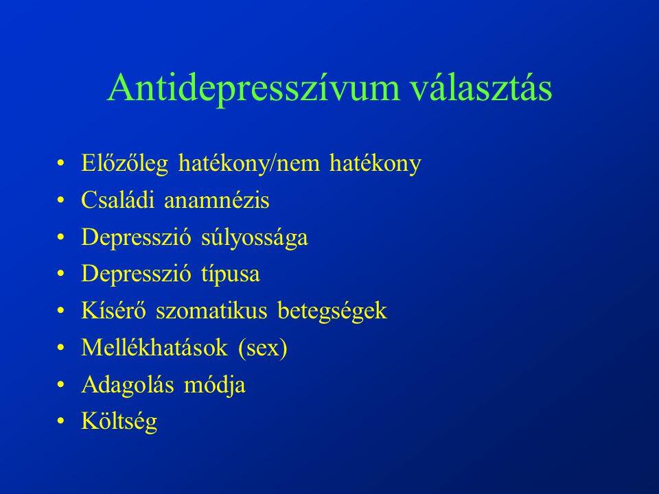 Antidepresszívum választás Előzőleg hatékony/nem hatékony Családi anamnézis Depresszió súlyossága Depresszió típusa Kísérő szomatikus betegségek Mellékhatások (sex) Adagolás módja Költség