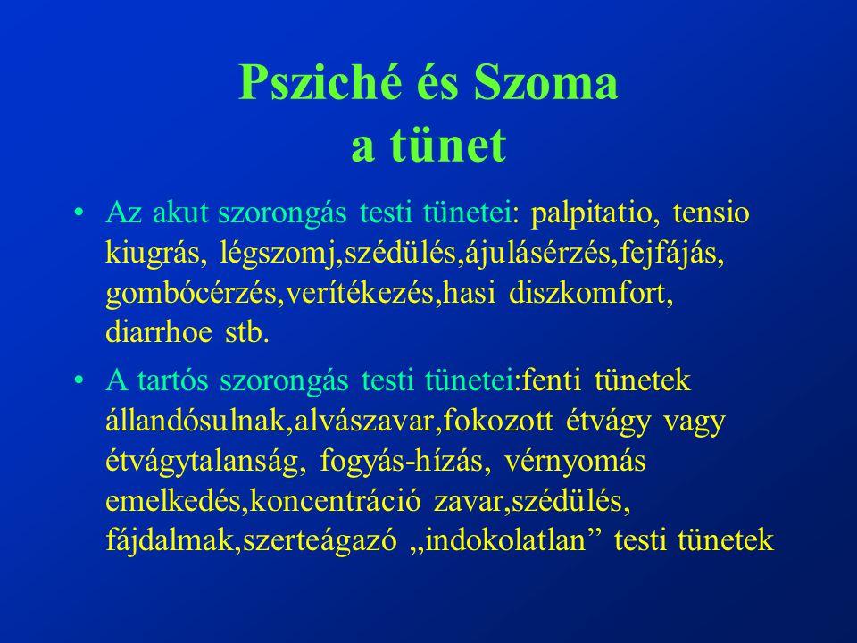 Psziché és Szoma a tünet Az akut szorongás testi tünetei: palpitatio, tensio kiugrás, légszomj,szédülés,ájulásérzés,fejfájás, gombócérzés,verítékezés,hasi diszkomfort, diarrhoe stb.