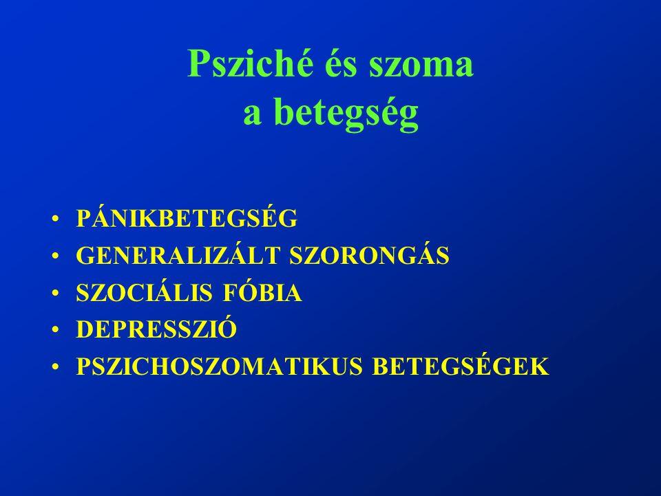 Psziché és szoma a betegség PÁNIKBETEGSÉG GENERALIZÁLT SZORONGÁS SZOCIÁLIS FÓBIA DEPRESSZIÓ PSZICHOSZOMATIKUS BETEGSÉGEK