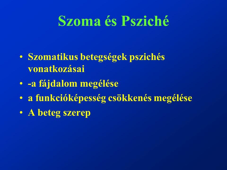 Szoma és Psziché Szomatikus betegségek pszichés vonatkozásai -a fájdalom megélése a funkcióképesség csökkenés megélése A beteg szerep
