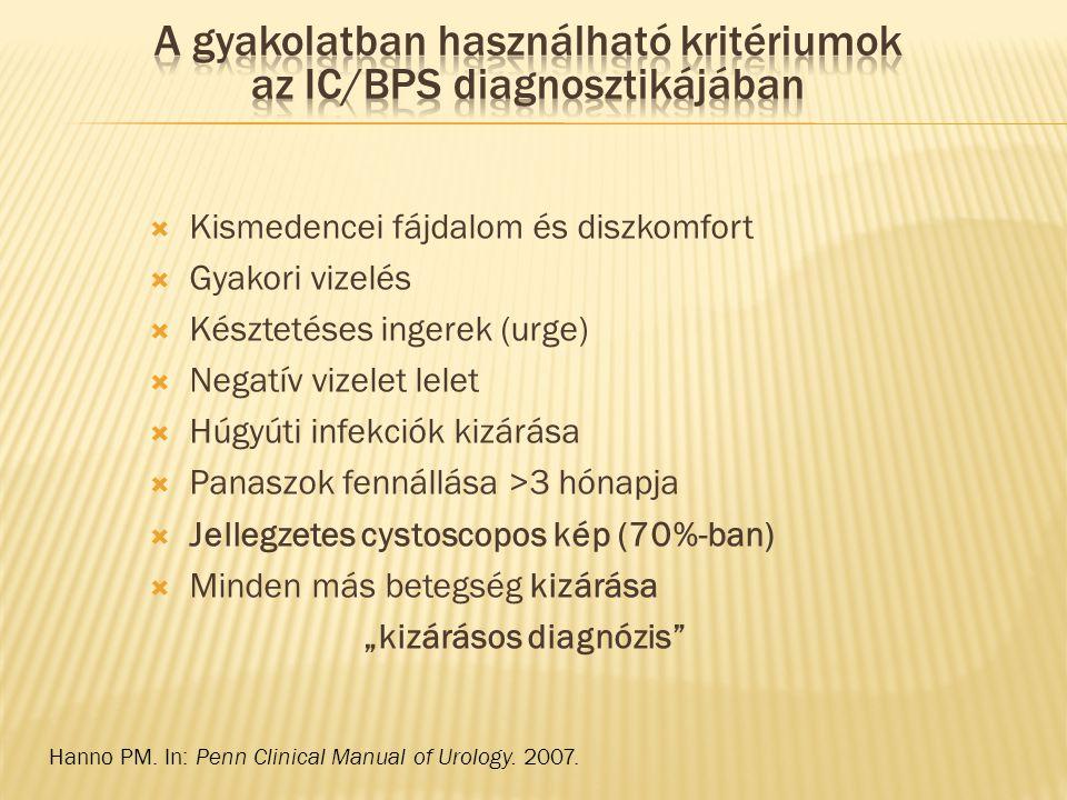  Kismedencei fájdalom és diszkomfort  Gyakori vizelés  Késztetéses ingerek (urge)  Negatív vizelet lelet  Húgyúti infekciók kizárása  Panaszok f