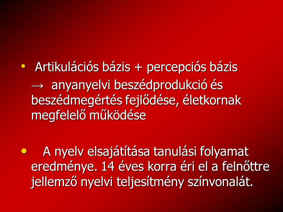 Artikulációs bázis + percepciós bázis Artikulációs bázis + percepciós bázis → anyanyelvi beszédprodukció és beszédmegértés fejlődése, életkornak megfelelő működése → anyanyelvi beszédprodukció és beszédmegértés fejlődése, életkornak megfelelő működése A nyelv elsajátítása tanulási folyamat eredménye.