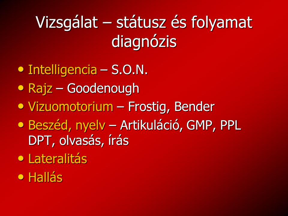 Vizsgálat – státusz és folyamat diagnózis Intelligencia – S.O.N. Intelligencia – S.O.N. Rajz – Goodenough Rajz – Goodenough Vizuomotorium – Frostig, B