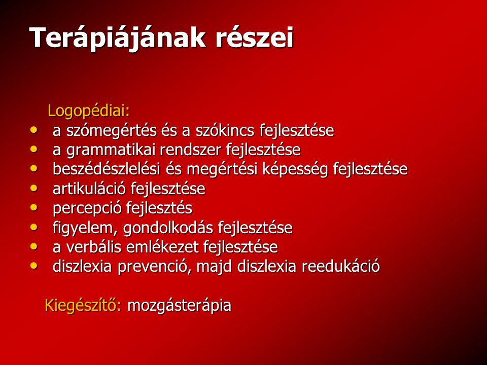 Terápiájának részei Logopédiai: a szómegértés és a szókincs fejlesztése a szómegértés és a szókincs fejlesztése a grammatikai rendszer fejlesztése a g