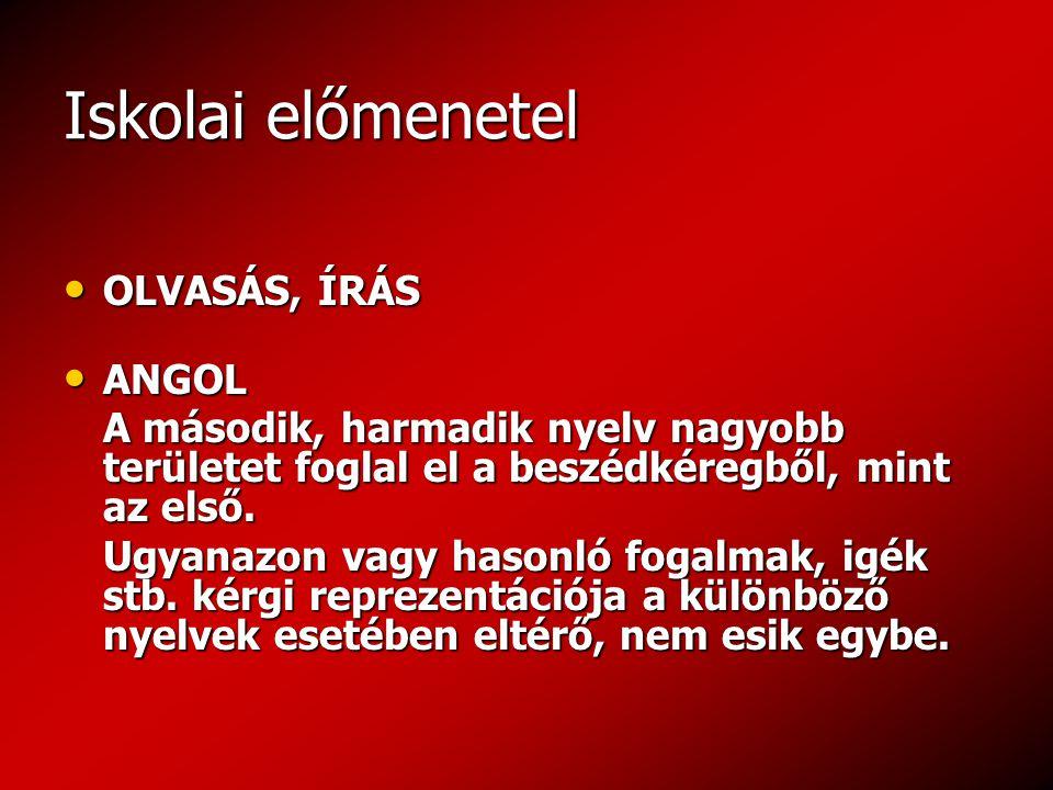 Iskolai előmenetel OLVASÁS, ÍRÁS OLVASÁS, ÍRÁS ANGOL ANGOL A második, harmadik nyelv nagyobb területet foglal el a beszédkéregből, mint az első.