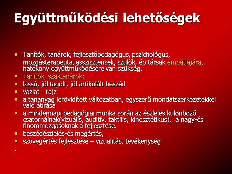Együttműködési lehetőségek Tanítók, tanárok, fejlesztőpedagógus, pszichológus, Tanítók, tanárok, fejlesztőpedagógus, pszichológus, mozgásterapeuta, as